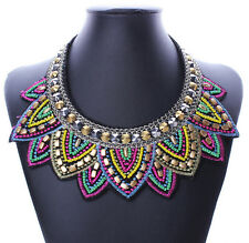 Pendant Chain Jewelry Women Bib Crystal Beaded Collar Necklace Choker UAUB