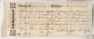 1872 EXCHANGE RECEIPT/NOTE - HEIDEGGER TRELLES & CO - BY MATANZAS
