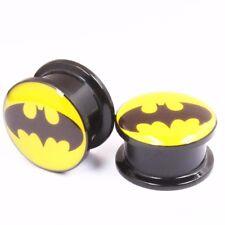 1 Paar Batman Logo Stahl Acryl Flesh Tunnel Double Flare Screw Ohr Plug Piercing