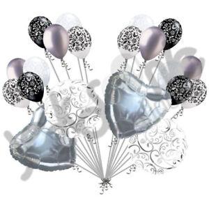 20 pc Silver Heart & Swirl Balloon Bouquet Wedding Bridal Shower Anniversary