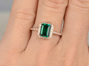 1.71 Ct Emerald Halo Style Diamond Anniversary Ring For Her 14K Rose Gold Over