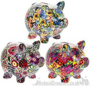 Floral Piggies Ceramic Money Box Piggy Bank 2 sizes asst colours Pig lover gift