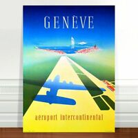 "Vintage Travel Poster Art CANVAS PRINT 24x18"" Geneve Plane shadow"
