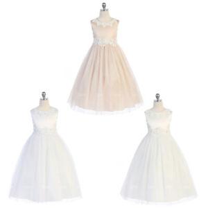 Flower Princess Girls Dresses Graduation Gown Wedding Communion Birthday Recital