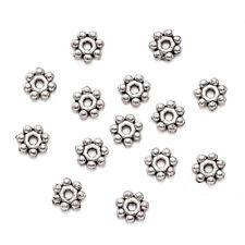 200pcs Tibetan Alloy Flower Metal Beads Silver Nickel Free Tiny Loose Spacer 4mm