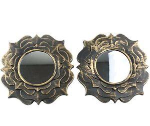 Mini Accent Mirror Distressed Gold Design Hanging Wall Decor Set 2