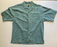 Mens Tommy Bahama Camp Hawaiian Shirt Blue/Green 100% Silk XL