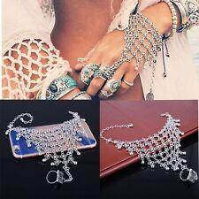 Women Silver Boho Chain Tassel Bracelet Bangle Slave Finger Ring Hand Harness