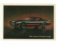 VTG 1980 Chevy Camaro Z28 Sport Coupe Car Dealership Advertiser Postcard Auto