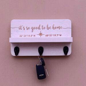 Personalized Wood Key Holder with Wood Shelf Custom Key Rack Key Hook Key Hanger