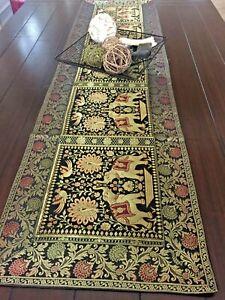 Table Runner,Tapestry, Brocade,16 X 60 Inch, Silk, Formal, Mandala, Elephant