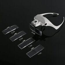 Headband Magnifier Lighted Glass Optivisor with 5 Lens for Hobby Repair Reading