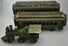 Cast Iron Nickel Plated Steam Locomotive with 2 Ny Central & Hudson R.R. Cars