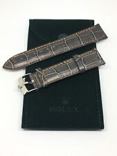 20MM ROLEX Watch Gray Band with ROLEX Steel Buckle and Rolex Suede Travel Pouch