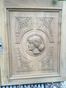 Antique wood Buffet door Wood Panel Woman French architectural Furniture Walnut