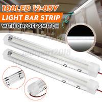 2x 12V 108 LED Barre Lampe Intérieur Bande lumière ON/OFF Bateau Caravane Camion