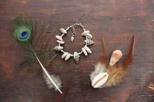 Lovely Beachy Ocean Handmade Cowrie Conch Shell & Silver Beaded Bracelet