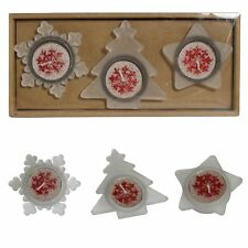 Christmas Tealight Candles & Holder Set - Tree Star & Snowflake - Red