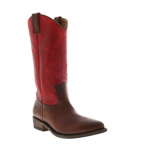 Frye Billy Stitch Pull On 70439 Womens Red Leather Slip On Western Boots 6