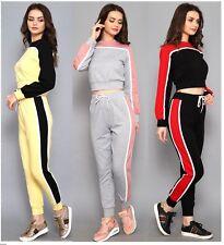 Womens Ladies 2 Pcs Tracksuits Sets Loungewear Contrast Sweatshirt Joggers 6-14