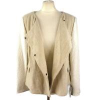 NEW BNWT £59 Zara Size L 12 14 Cream White Linen Ramie Textured Jacket Casual