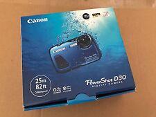 Brand New Canon PowerShot D30 12.1MP Digital Camera Blue waterproof full HD #AL