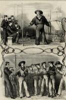 British Navy cadets Naval Instruction M.S. Morgan 1849 London wood engraving