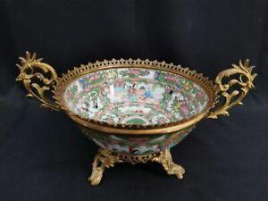 Large Chinese 19th C. Rose Medallion Canton Porcelain Bowl French Ormolu Mounts