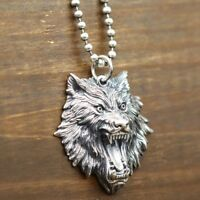 Real 925 Sterling Silver Pendant Stereoscopic Wolf