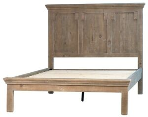 "85"" Crispino Queen Bed Rustic Solid Wood Distressed Finish"