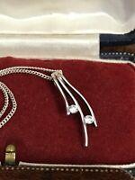 "Modern 925 Sterling Silver & Clear CZ Pendant Necklace Chain 18"" 46cm  (D8K1)"