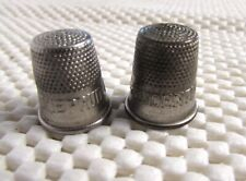 2 VINTAGE PRUDENTIAL LIFE INSURANCE METAL THIMBLES  ADVERTISING