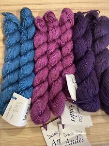 Debbie Bliss Andes 7 X 50g Skeins Purple/Jade/light Purple