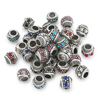 50 Alloy Paved Rhinestone European Beads Rondelle Large Hole Charms Silver 11mm