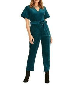 Rachel Roy Teal Corduroy Jumpsuit Size6/ US 0 Brand New