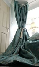 """NEW Sublime Heavy French Damask Turquoise Gold 92"""" Long 108""""W Lined Bay Curtains"""