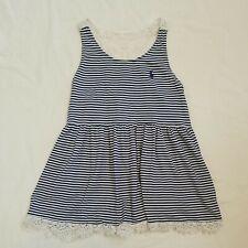 Ralph Lauren Girls Tank Top Striped White Navy Lace Size 12-14