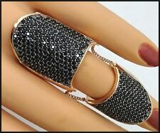Henri Bendel STARLET Pave Armor Double Ring w/ Gothic Black Crystals Size 9  NWT