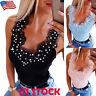 Womens Pearl Lace Vest Tops Sexy Lady Summer Casual Slim Fit Sleeveless Tank Top