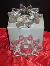 PartyLite Candles Glass Flaming Star Tealight Pair New