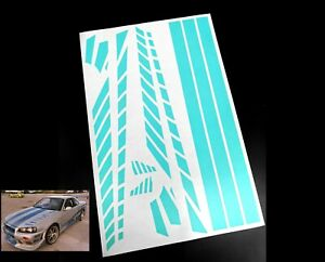 Precut 1/10 RC Fast And Furious Skyline Paint Masking Sheet Body Shell Stencil