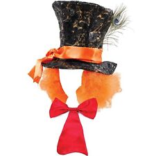 Mad Hatter Top Hat with Hair Red Long Bow Tie Alice Fairytale Tea Party Costume