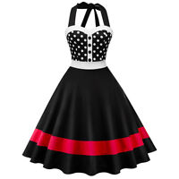 Women  Vintage 50s Rockabilly Polka Dot Swing Pinup Halter Housewife Party Dress