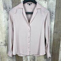 Express Women's Size XS Button Down Shirt Top Light Pink Long Sleeve