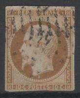 """FRANCE STAMP TIMBRE 9 """" LOUIS-NAPOLEON 10c  BISTRE 1852 """" OBLITERE A VOIR  K936"""