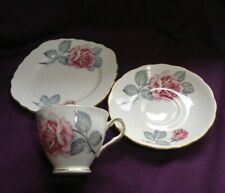 Vintage Colclough Pink Roses (No 8022) Tea Trio ~Teacup/Saucer/Plate~    RN