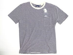 Levis Made & Crafted Mens Pocket T-Shirt 3 L Blue Offwhite Cotton Cashmere Blend