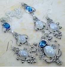 GORGEOUS NEW HUGE RAINBOW MOONSTONE BLUE TOPAZ 925 SILVER NECKLACE EARRINGS SET