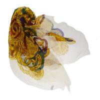 Authentic CHANEL CC Logos XL JUMBO Shawl Scarf 100% Silk White Italy 68MG398