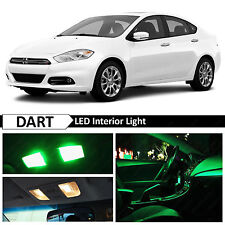 2013-2015 Dodge Dart Green Interior + License Plate LED Lights Package Kit